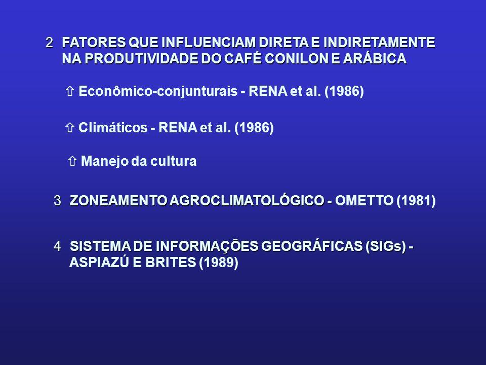 OBJETIVOS ñELABORAR O ZONEAMENTO AGROCLIMATOLÓGICO PARA A CULTURA DO CAFÉ CONILON (Coffea canephora L.) E ARÁBICA (Coffea arábica L.) ñANALISAR A RELAÇÃO EXISTENTE ENTRE A PRODUTIVIDADE DO CAFEEIRO E OS ELEMENTOS CLIMÁTICOS