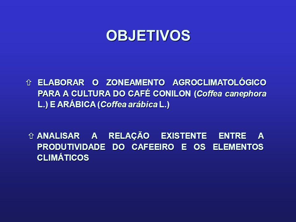 OBJETIVOS ñELABORAR O ZONEAMENTO AGROCLIMATOLÓGICO PARA A CULTURA DO CAFÉ CONILON (Coffea canephora L.) E ARÁBICA (Coffea arábica L.) ñANALISAR A RELA