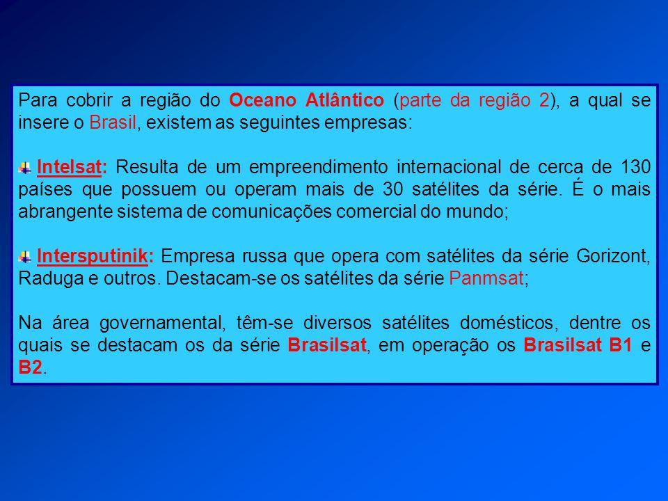Para cobrir a região do Oceano Atlântico (parte da região 2), a qual se insere o Brasil, existem as seguintes empresas: Intelsat: Resulta de um empree