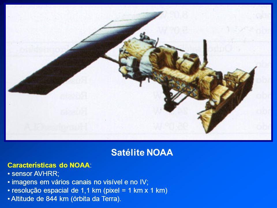 Satélite NOAA Características do NOAA: sensor AVHRR; imagens em vários canais no visível e no IV; resolução espacial de 1,1 km (pixel = 1 km x 1 km) A