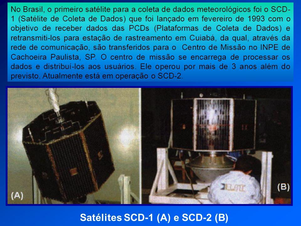Satélites SCD-1 (A) e SCD-2 (B) No Brasil, o primeiro satélite para a coleta de dados meteorológicos foi o SCD- 1 (Satélite de Coleta de Dados) que fo