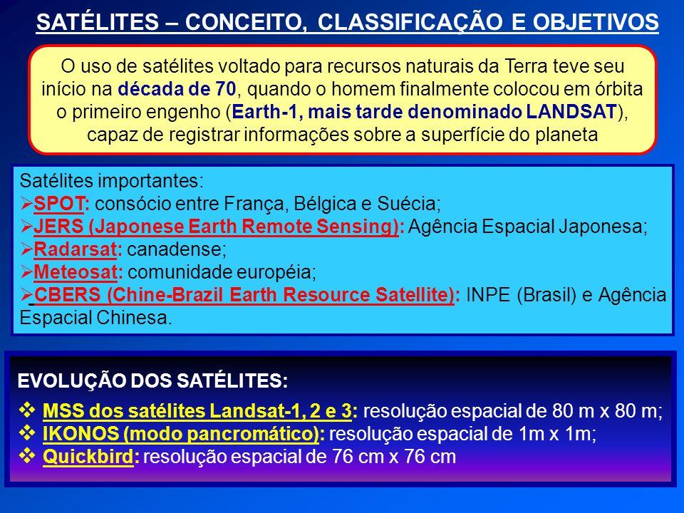 SATÉLITES – CONCEITO, CLASSIFICAÇÃO E OBJETIVOS Satélites importantes: SPOT: consócio entre França, Bélgica e Suécia; JERS (Japonese Earth Remote Sens