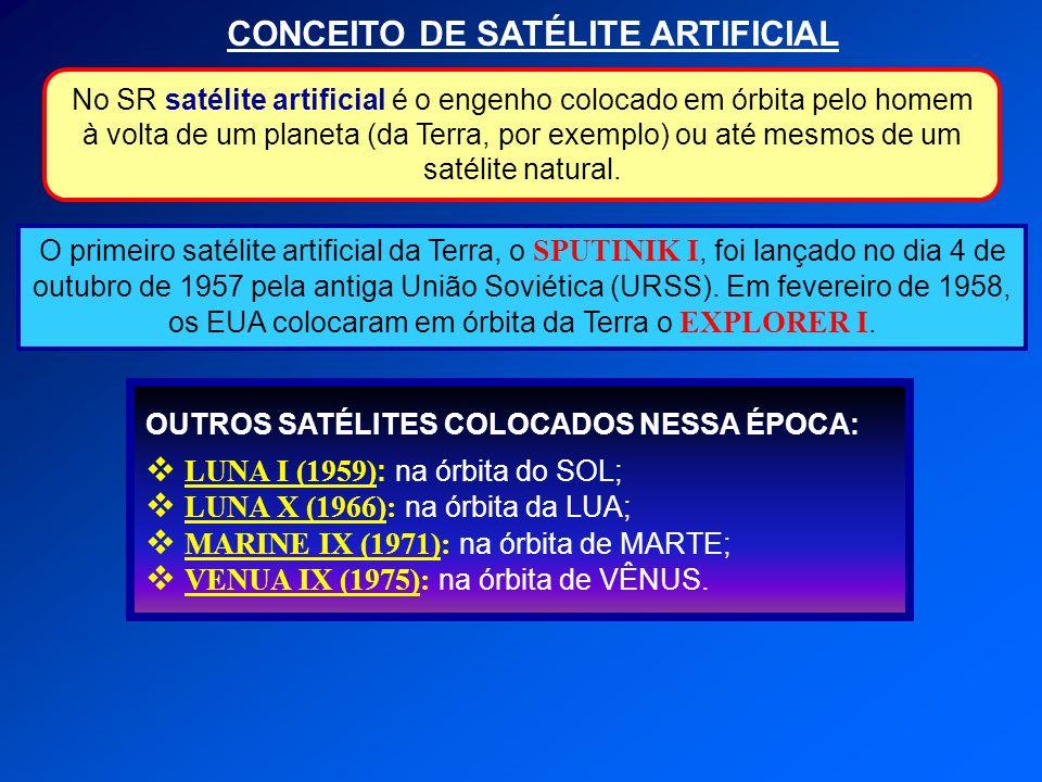 CONCEITO DE SATÉLITE ARTIFICIAL O primeiro satélite artificial da Terra, o SPUTINIK I, foi lançado no dia 4 de outubro de 1957 pela antiga União Sovié