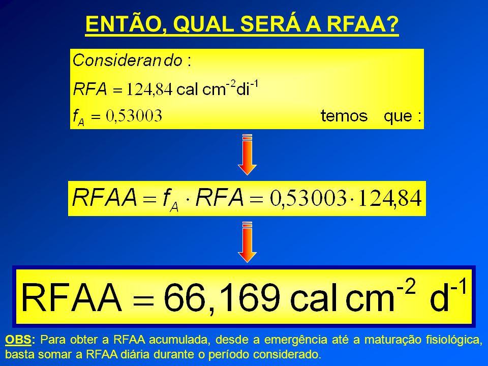 ENTÃO, QUAL SERÁ A RFAA? OBS: Para obter a RFAA acumulada, desde a emergência até a maturação fisiológica, basta somar a RFAA diária durante o período
