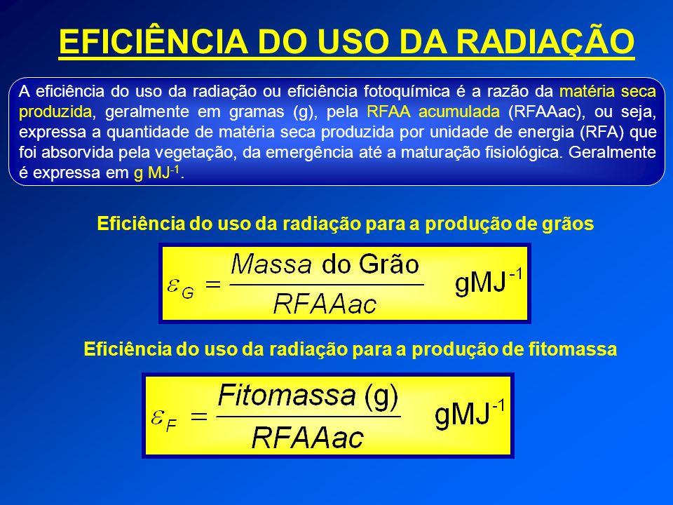 EFICIÊNCIA DO USO DA RADIAÇÃO A eficiência do uso da radiação ou eficiência fotoquímica é a razão da matéria seca produzida, geralmente em gramas (g),