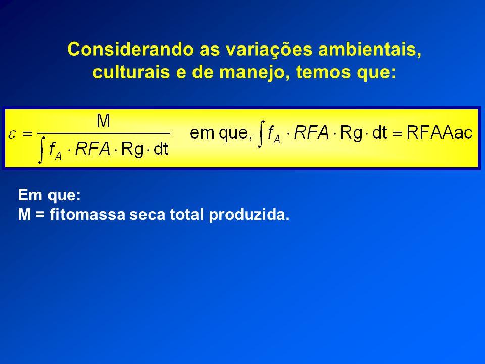 Considerando as variações ambientais, culturais e de manejo, temos que: Em que: M = fitomassa seca total produzida.