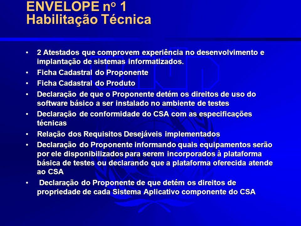 CSA – Conjunto de Sistemas AplicativosCSA – Conjunto de Sistemas Aplicativos Manual do AdministradorManual do Administrador Manual do UsuárioManual do Usuário Relação dos Requisitos Desejáveis implementados em disquete 3 ½Relação dos Requisitos Desejáveis implementados em disquete 3 ½ Software básicoSoftware básico Amostra de Dados para TesteAmostra de Dados para Teste ENVELOPE n o 2 Avaliação do CSA e Documentação Técnica