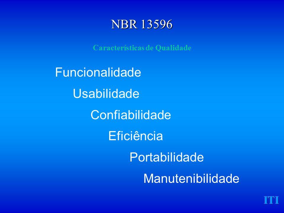 ITI Características de Qualidade Funcionalidade Usabilidade Confiabilidade Eficiência Portabilidade Manutenibilidade NBR 13596