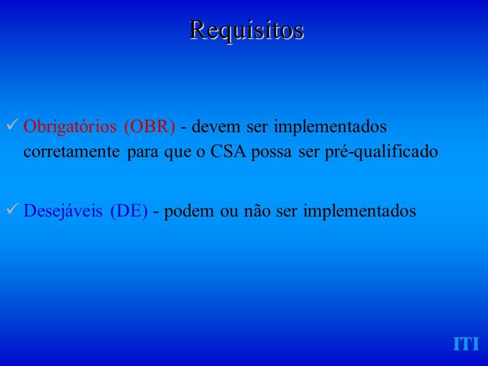ITI Obrigatórios (OBR) - devem ser implementados corretamente para que o CSA possa ser pré-qualificado Desejáveis (DE) - podem ou não ser implementados Requisitos