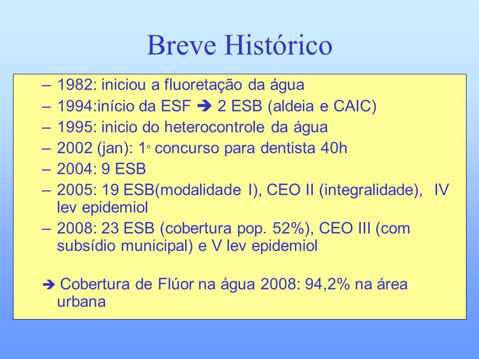 Breve Histórico –1982: iniciou a fluoretação da água –1994:início da ESF 2 ESB (aldeia e CAIC) –1995: inicio do heterocontrole da água –2002 (jan): 1
