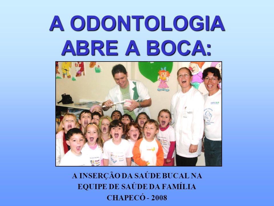 A ODONTOLOGIA ABRE A BOCA: A INSERÇÃO DA SAÚDE BUCAL NA EQUIPE DE SAÚDE DA FAMÍLIA CHAPECÓ - 2008