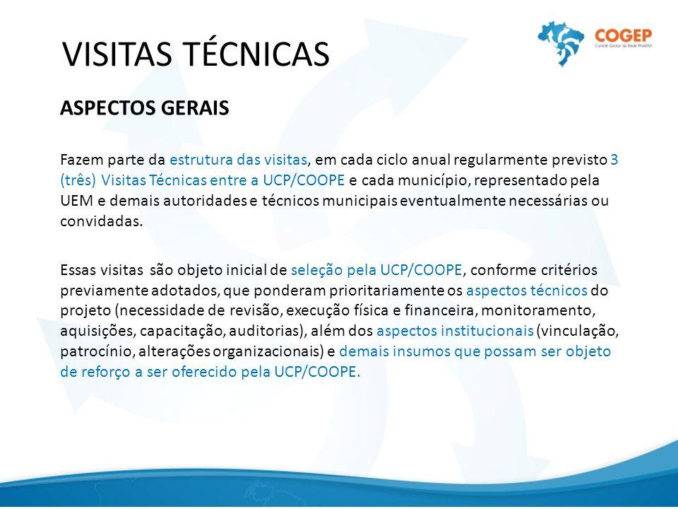 VISITAS TÉCNICAS ASPECTOS GERAIS Fazem parte da estrutura das visitas, em cada ciclo anual regularmente previsto 3 (três) Visitas Técnicas entre a UCP