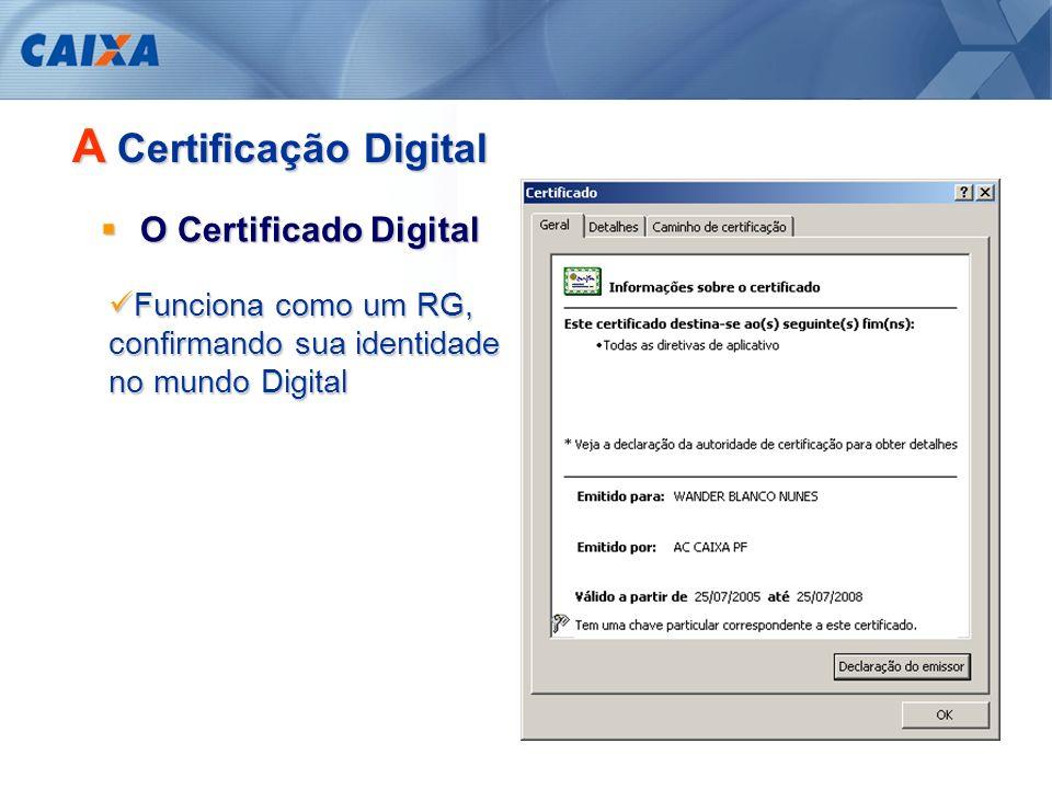 A Certificação Digital Garante a identificação das partes envolvidas numa comunicação e o transporte seguro da mensagem Autenticidade do emissor e do receptor Integridade dos dados transmitidos Confidencialidade entre as partes Não-repúdio das transações efetuadas