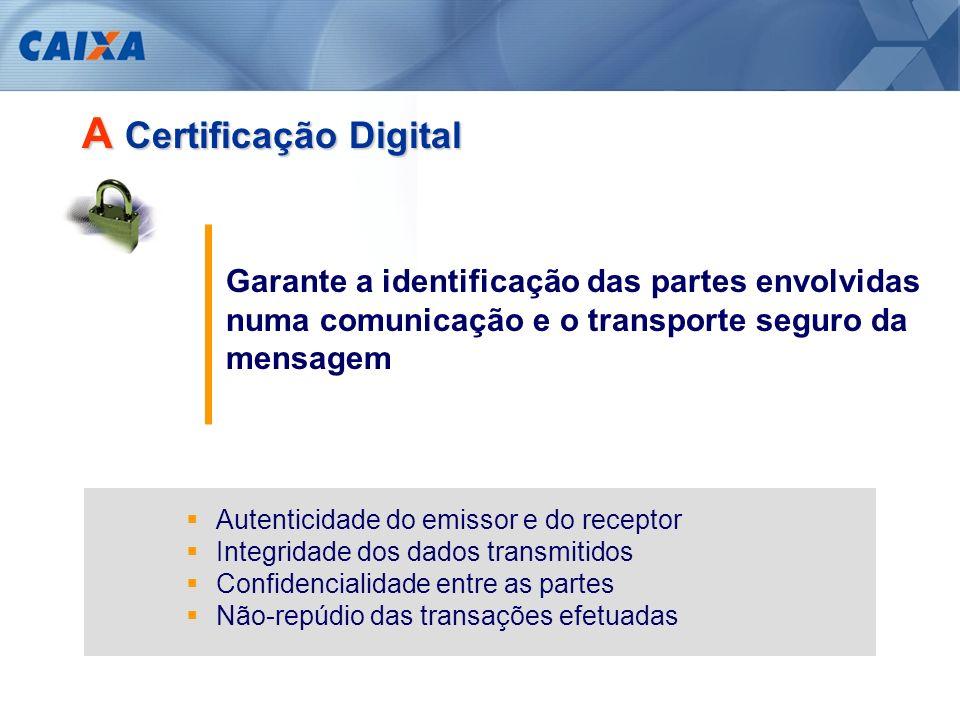 A Certificação Digital Permite a revisão de vários processos e componentes da cadeia produtiva Troca eletrônica de documentos – contratos, notas fiscais, guias, certidões, etc.