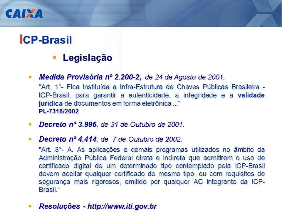 Iniciativa do Governo Federal - MP 2.200-2/01 (PL-7316/02) Iniciativa do Governo Federal - MP 2.200-2/01 (PL-7316/02) Apoiar ação Governamental Apoiar ação Governamental Já utilizar Certificados Digitais Já utilizar Certificados Digitais Validade jurídica nos relacionamentos eletrônicos Validade jurídica nos relacionamentos eletrônicos Geração segura dos Certificados Geração segura dos Certificados A CAIXA na ICP-Brasil É a única instituição financeira credenciada como Autoridade Certificadora na ICP-Brasil Motivadores Motivadores