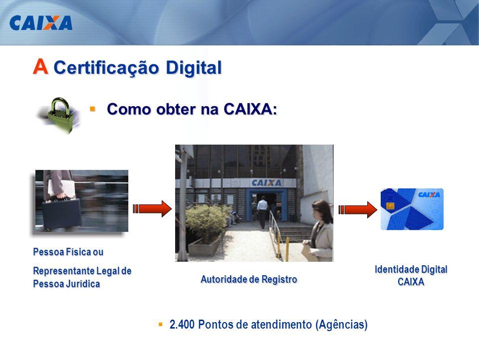 A Certificação Digital Documentação necessária: Pessoa Física: RG CPF Comprovante Residência PIS (Opcional) Título de Eleitor (Opcional) Pessoa Jurídica: Registro Comercial, Ato Constitutivo, Estatuto ou Contrato Social CNPJ Documentos do Titular do Certificado
