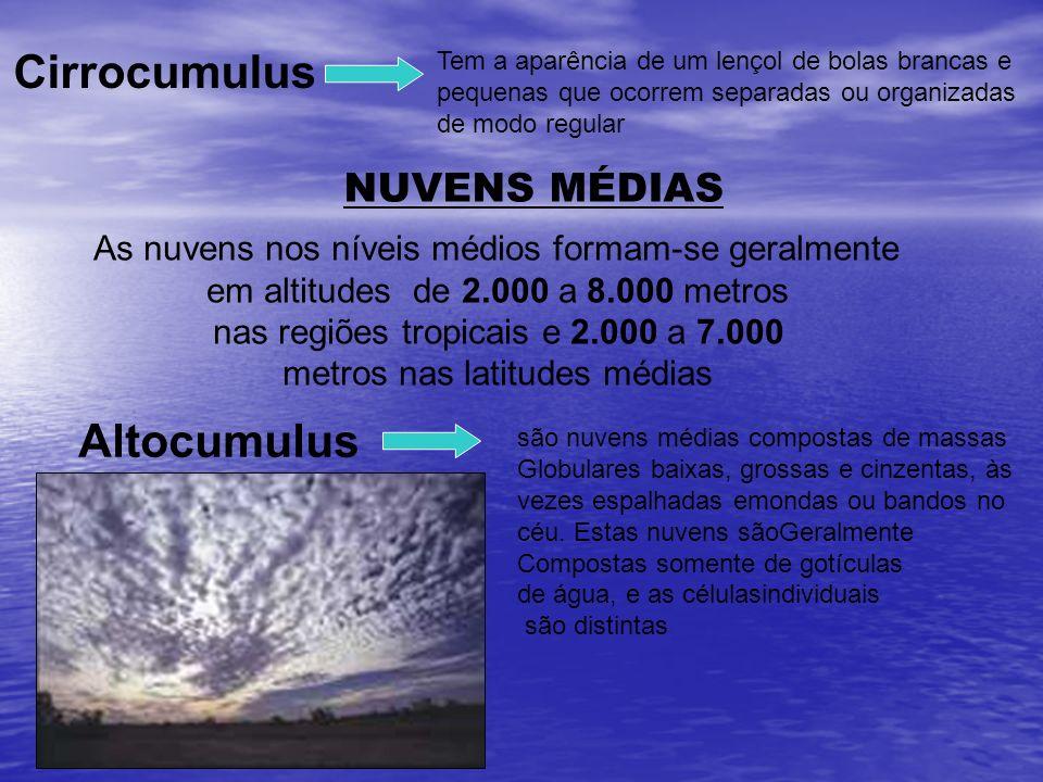 Tem a aparência de um lençol de bolas brancas e pequenas que ocorrem separadas ou organizadas de modo regular Cirrocumulus NUVENS MÉDIAS As nuvens nos
