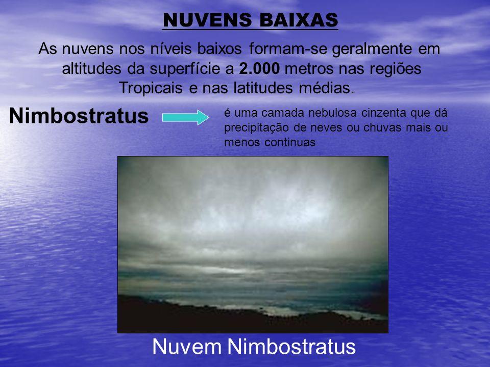NUVENS BAIXAS As nuvens nos níveis baixos formam-se geralmente em altitudes da superfície a 2.000 metros nas regiões Tropicais e nas latitudes médias.