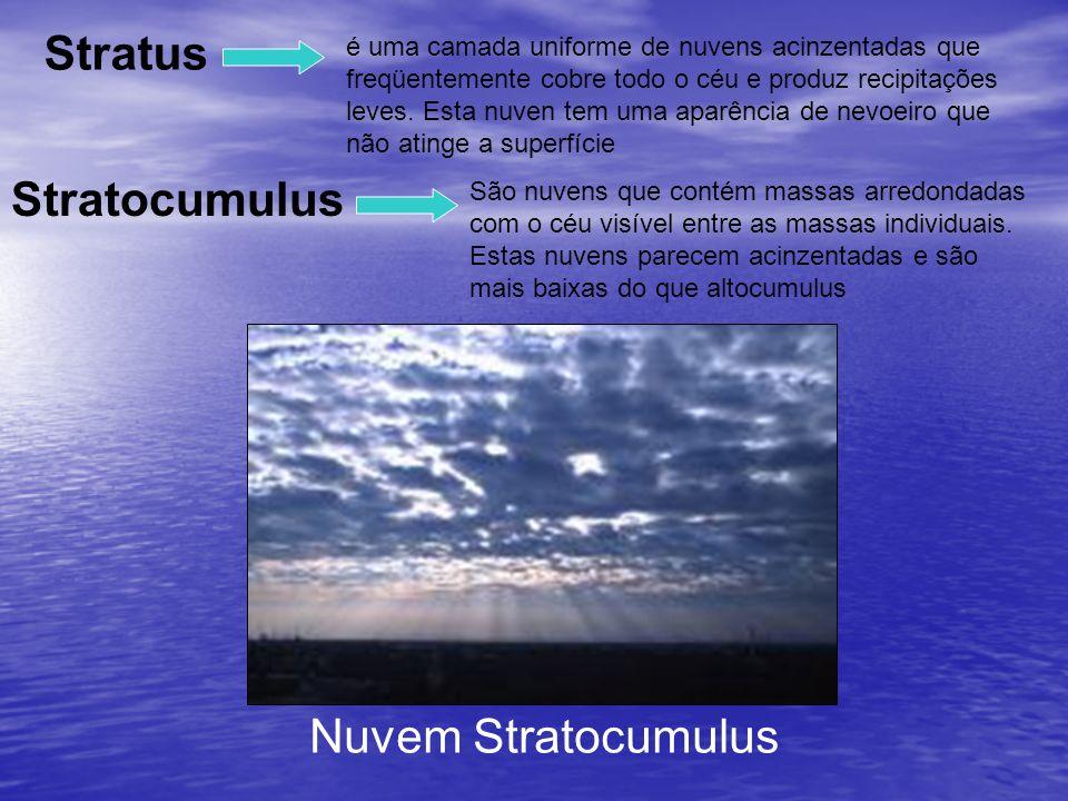 é uma camada uniforme de nuvens acinzentadas que freqüentemente cobre todo o céu e produz recipitações leves. Esta nuven tem uma aparência de nevoeiro