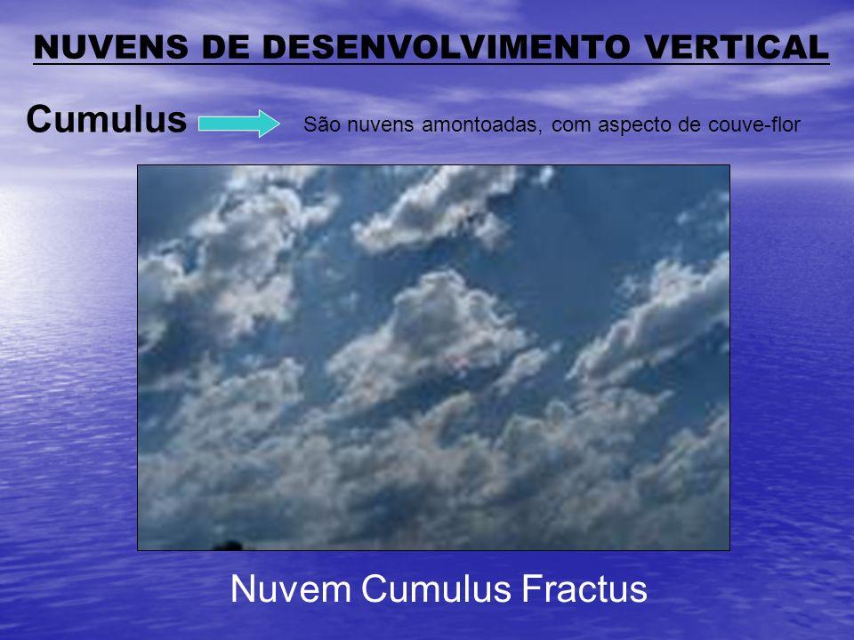 São nuvens amontoadas, com aspecto de couve-flor Cumulus NUVENS DE DESENVOLVIMENTO VERTICAL Nuvem Cumulus Fractus