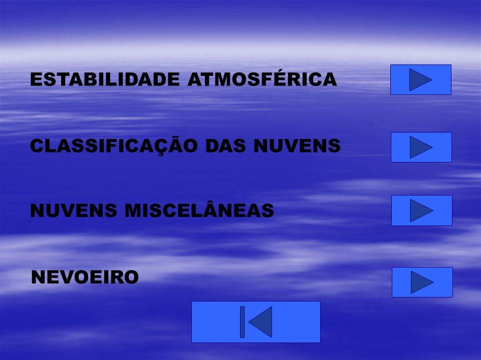 ESTABILIDADE ATMOSFÉRICA CLASSIFICAÇÃO DAS NUVENS NUVENS MISCELÂNEAS NEVOEIRO