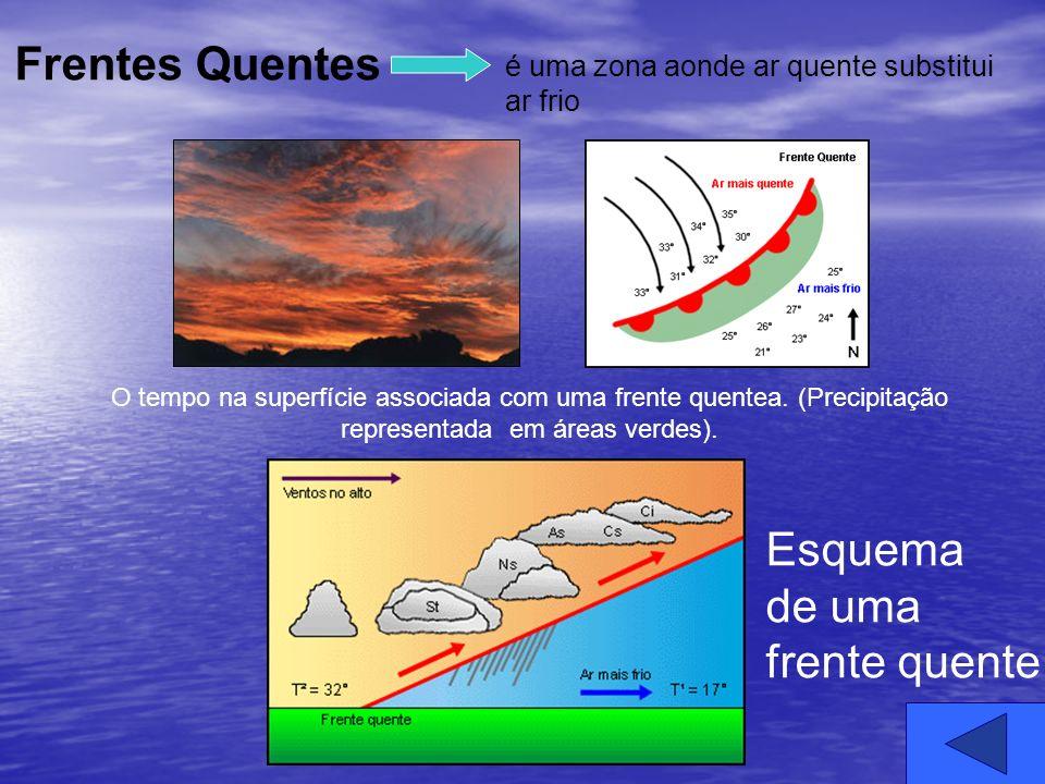 é uma zona aonde ar quente substitui ar frio O tempo na superfície associada com uma frente quentea. (Precipitação representada em áreas verdes). Esqu