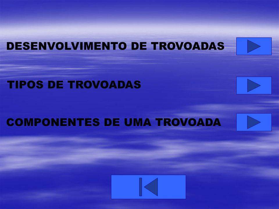 DESENVOLVIMENTO DE TROVOADAS TIPOS DE TROVOADAS COMPONENTES DE UMA TROVOADA