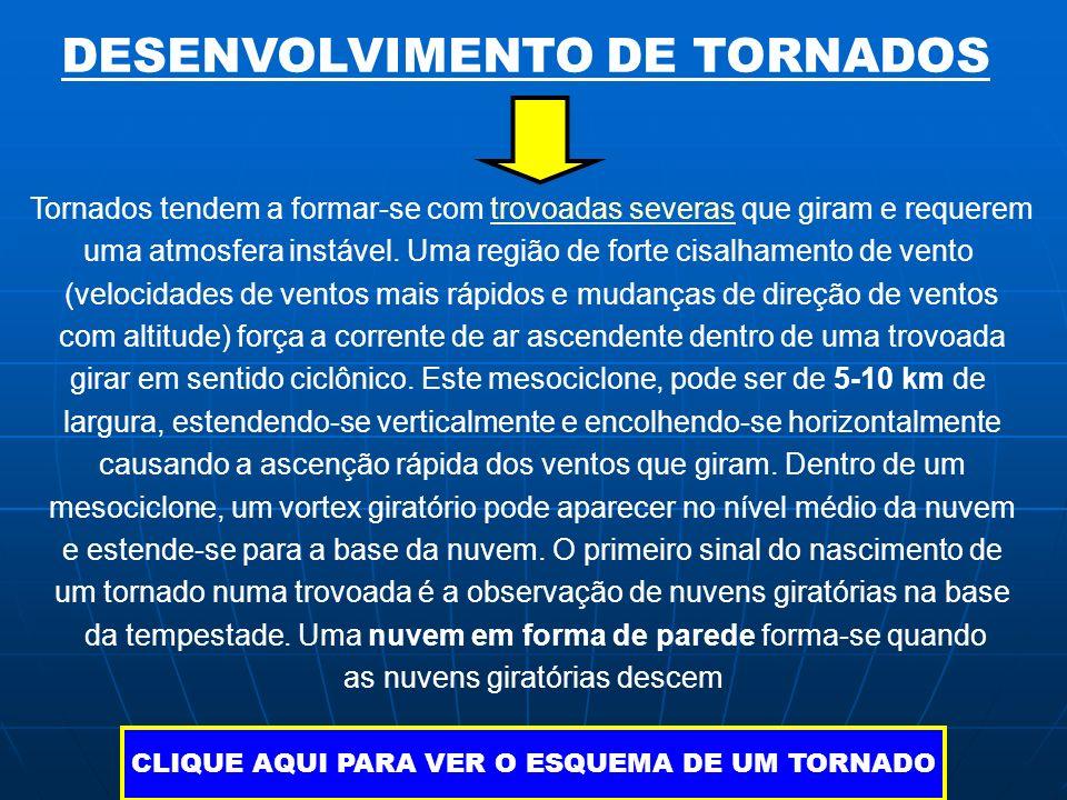 DESENVOLVIMENTO DE TORNADOS Tornados tendem a formar-se com trovoadas severas que giram e requeremtrovoadas severas uma atmosfera instável. Uma região