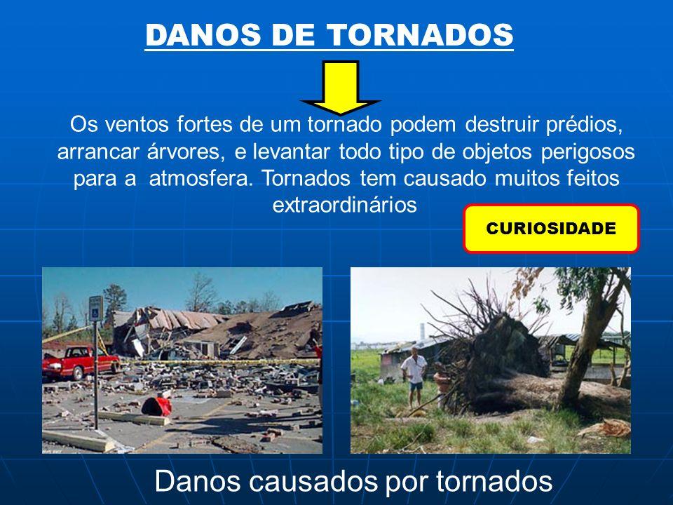 DANOS DE TORNADOS Os ventos fortes de um tornado podem destruir prédios, arrancar árvores, e levantar todo tipo de objetos perigosos para a atmosfera.