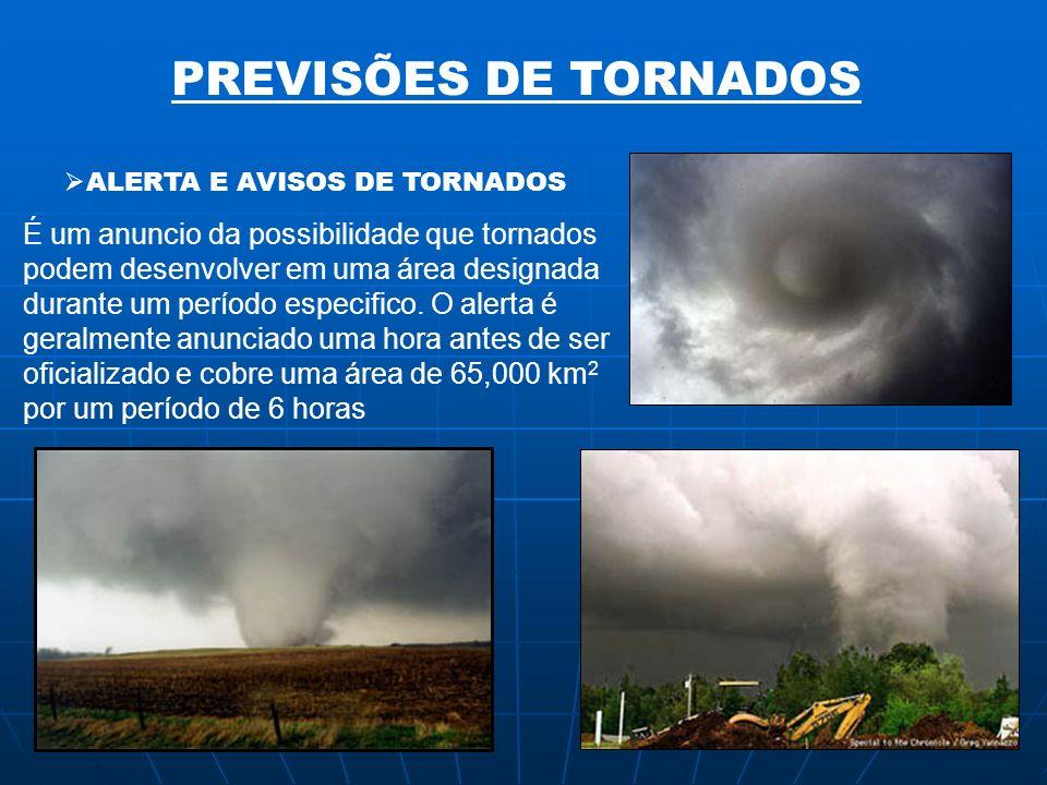 PREVISÕES DE TORNADOS ALERTA E AVISOS DE TORNADOS É um anuncio da possibilidade que tornados podem desenvolver em uma área designada durante um períod