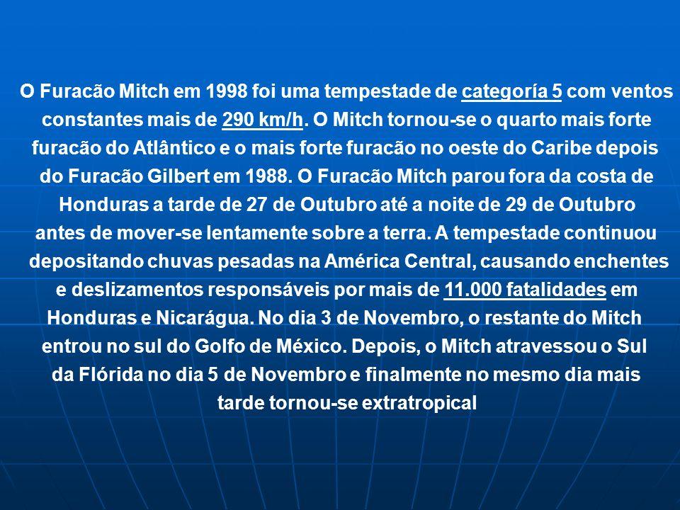 O Furacão Mitch em 1998 foi uma tempestade de categoría 5 com ventos constantes mais de 290 km/h. O Mitch tornou-se o quarto mais forte furacão do Atl