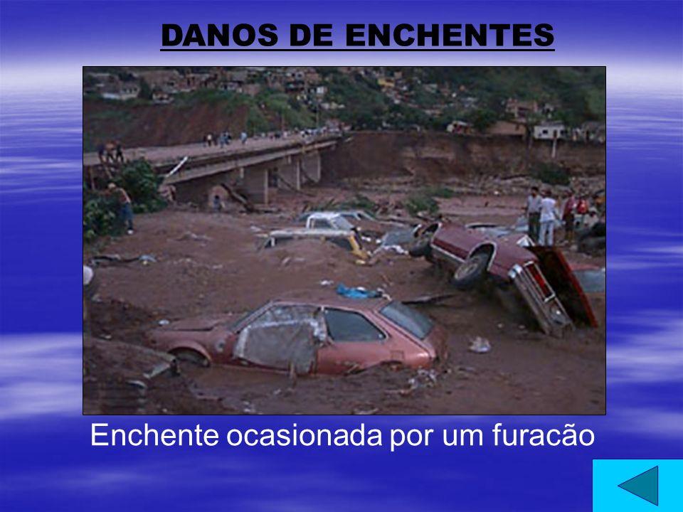 DANOS DE ENCHENTES Enchente ocasionada por um furacão