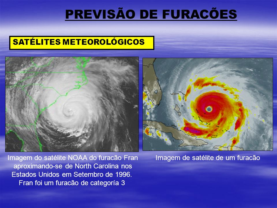 PREVISÃO DE FURACÕES SATÉLITES METEOROLÓGICOS Imagem do satélite NOAA do furacão Fran aproximando-se de North Carolina nos Estados Unidos em Setembro