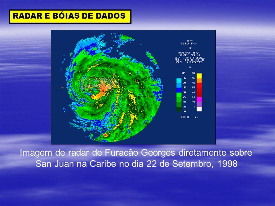 RADAR E BÓIAS DE DADOS Imagem de radar de Furacão Georges diretamente sobre San Juan na Caribe no dia 22 de Setembro, 1998
