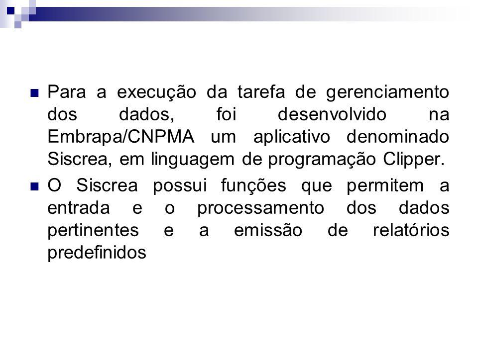 Para a execução da tarefa de gerenciamento dos dados, foi desenvolvido na Embrapa/CNPMA um aplicativo denominado Siscrea, em linguagem de programação