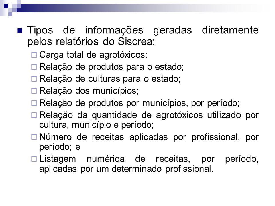 Tipos de informações geradas diretamente pelos relatórios do Siscrea: Carga total de agrotóxicos; Relação de produtos para o estado; Relação de cultur