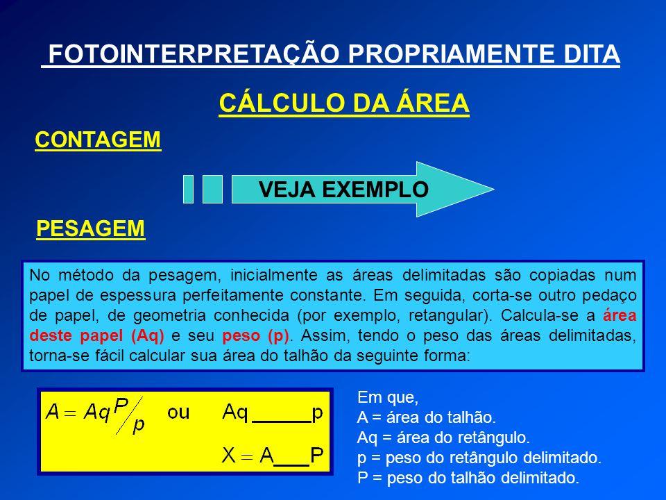 FOTOINTERPRETAÇÃO PROPRIAMENTE DITA CÁLCULO DA ÁREA VEJA EXEMPLO CONTAGEM PESAGEM No método da pesagem, inicialmente as áreas delimitadas são copiadas