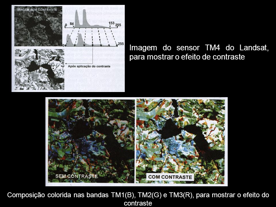 Composição colorida nas bandas TM1(B), TM2(G) e TM3(R), para mostrar o efeito do contraste Imagem do sensor TM4 do Landsat, para mostrar o efeito de contraste
