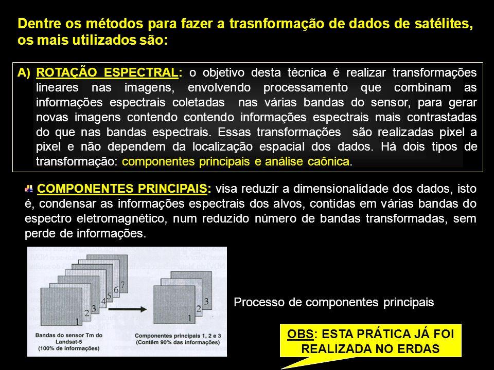 Dentre os métodos para fazer a trasnformação de dados de satélites, os mais utilizados são: A)ROTAÇÃO ESPECTRAL: o objetivo desta técnica é realizar t