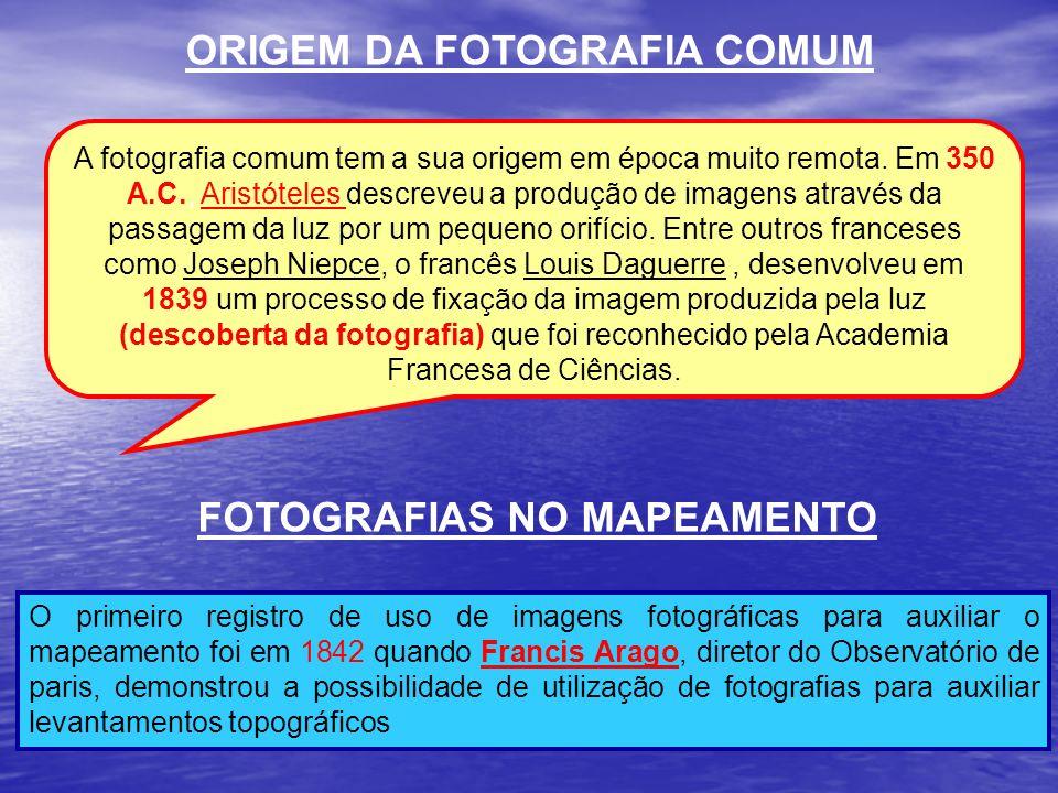 ORIGEM DA FOTOGRAFIA COMUM FOTOGRAFIAS NO MAPEAMENTO O primeiro registro de uso de imagens fotográficas para auxiliar o mapeamento foi em 1842 quando