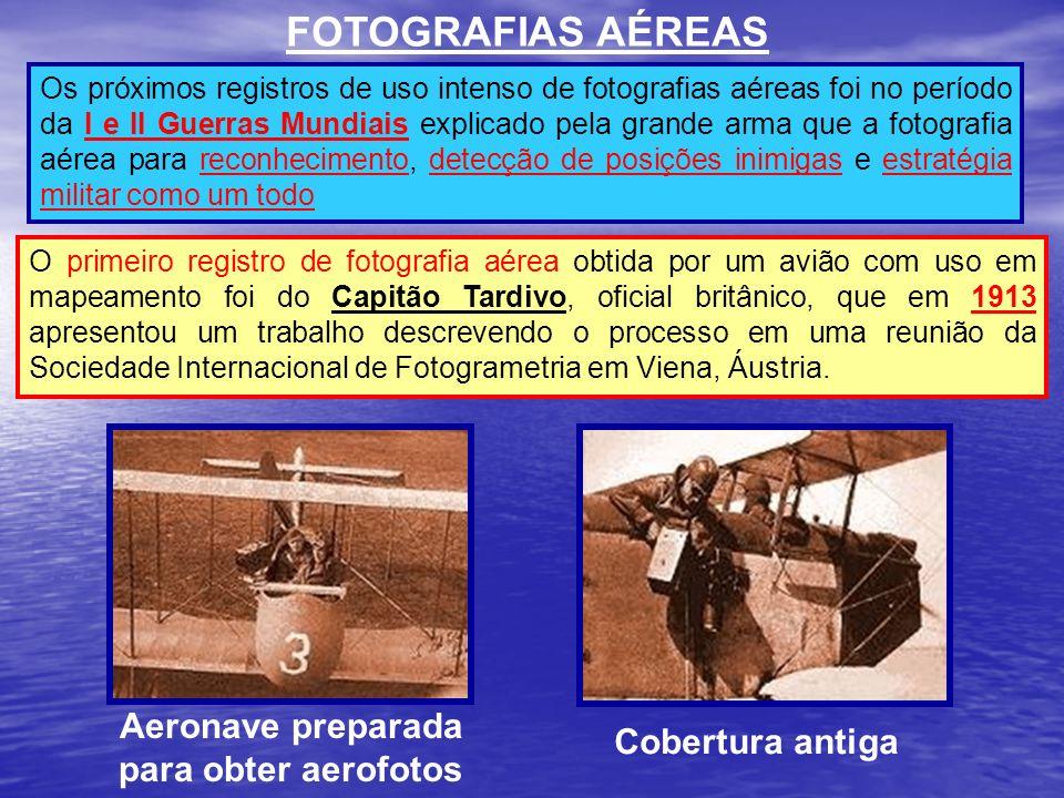 FOTOGRAFIAS AÉREAS Os próximos registros de uso intenso de fotografias aéreas foi no período da I e II Guerras Mundiais explicado pela grande arma que