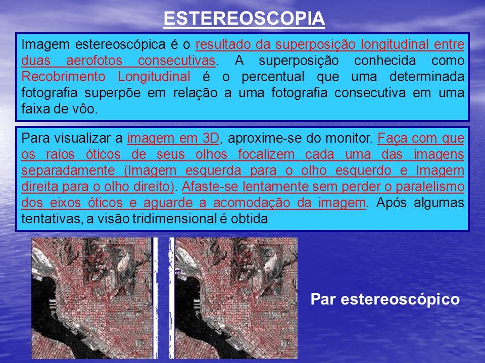 ESTEREOSCOPIA Imagem estereoscópica é o resultado da superposição longitudinal entre duas aerofotos consecutivas. A superposição conhecida como Recobr