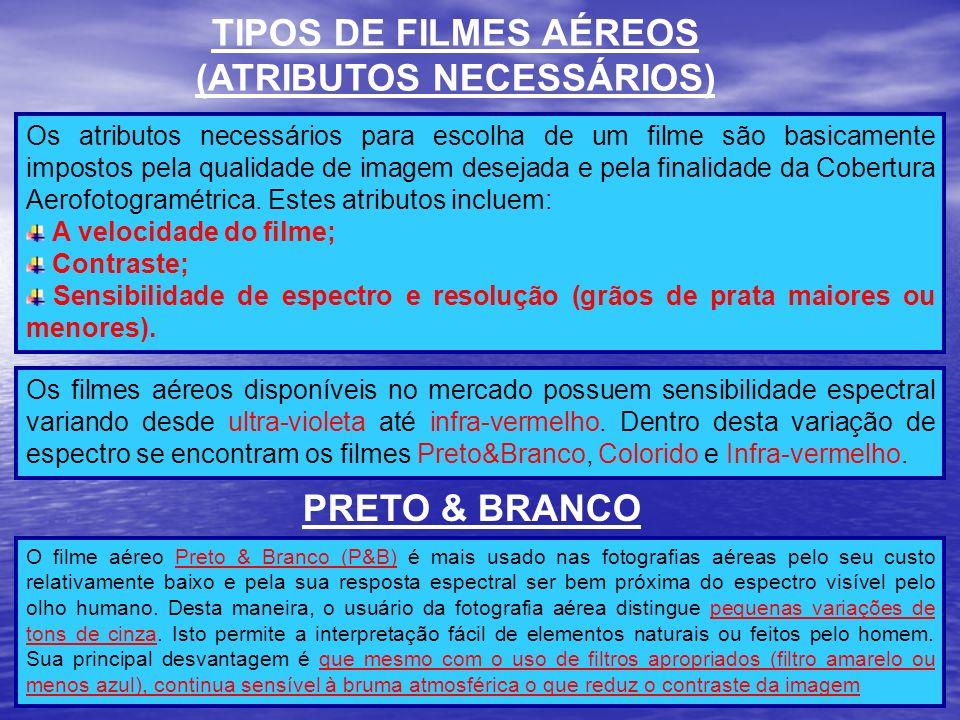 TIPOS DE FILMES AÉREOS (ATRIBUTOS NECESSÁRIOS) Os atributos necessários para escolha de um filme são basicamente impostos pela qualidade de imagem des
