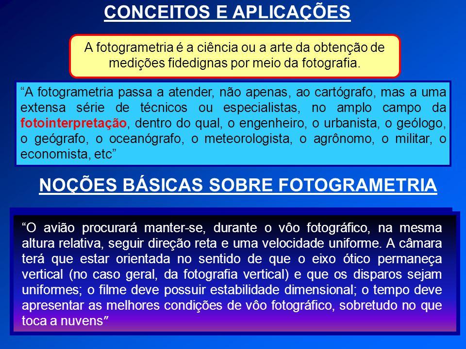 CONCEITOS E APLICAÇÕES NOÇÕES BÁSICAS SOBRE FOTOGRAMETRIA A fotogrametria passa a atender, não apenas, ao cartógrafo, mas a uma extensa série de técni