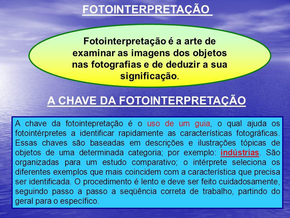 FOTOINTERPRETAÇÃO A chave da fotointepretação é o uso de um guia, o qual ajuda os fotointérpretes a identificar rapidamente as características fotográ