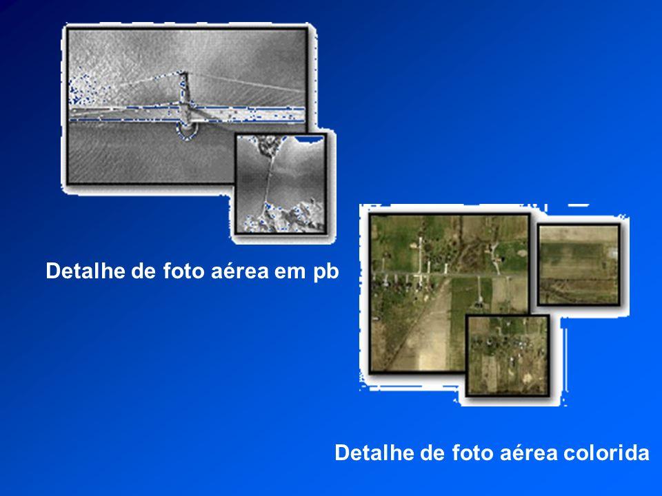 Detalhe de foto aérea em pbDetalhe de foto aérea colorida