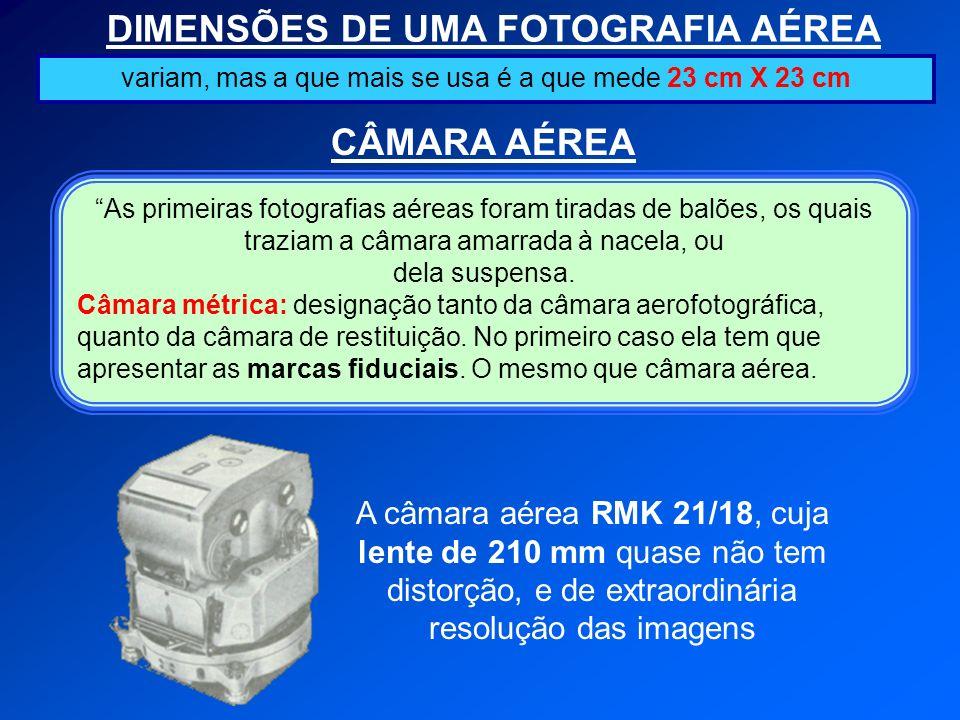 DIMENSÕES DE UMA FOTOGRAFIA AÉREA CÂMARA AÉREA variam, mas a que mais se usa é a que mede 23 cm X 23 cm As primeiras fotografias aéreas foram tiradas