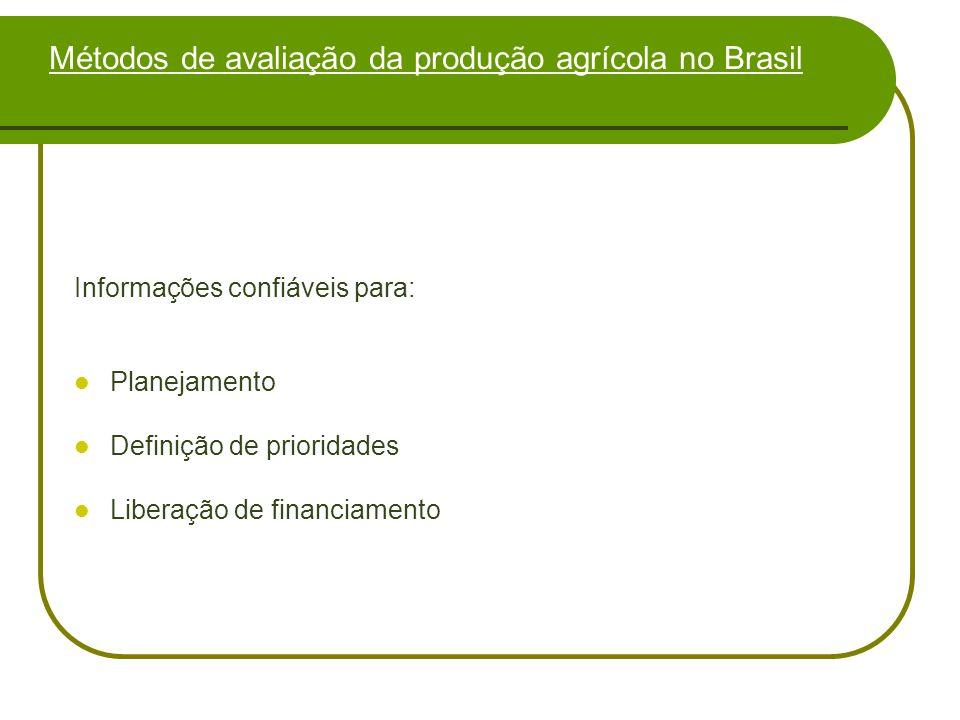 Métodos de avaliação da produção agrícola no Brasil Informações confiáveis para: Planejamento Definição de prioridades Liberação de financiamento