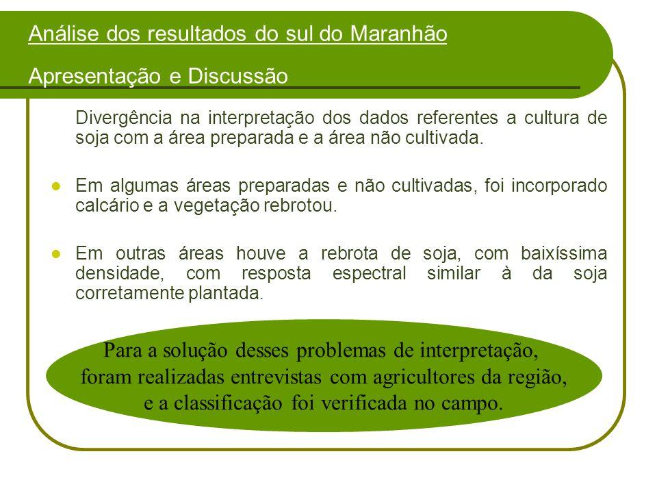 Divergência na interpretação dos dados referentes a cultura de soja com a área preparada e a área não cultivada.