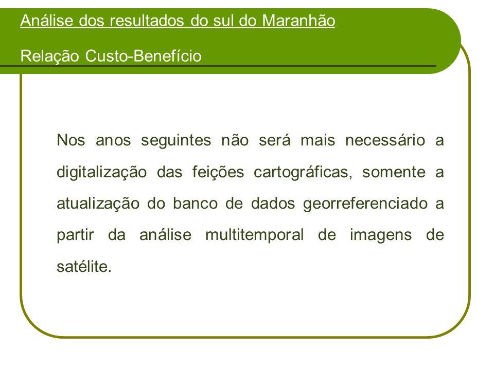 Análise dos resultados do sul do Maranhão Relação Custo-Benefício Nos anos seguintes não será mais necessário a digitalização das feições cartográficas, somente a atualização do banco de dados georreferenciado a partir da análise multitemporal de imagens de satélite.